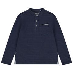 T-shirt manches longues col mao à poche et rayures jacquard