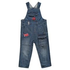 Salopette in jeans used effect en crinkle effect zakken