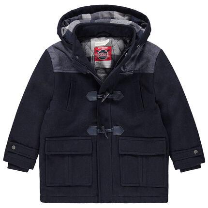 Duffle coat en drap de laine et doublure à carreaux