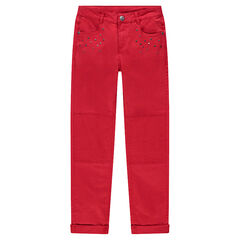Junior - Slim-fit broek van rode twill