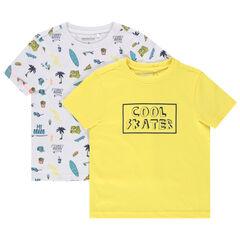 Set met 2 T-shirts met korte mouwen van biokatoen met print / met boodschap
