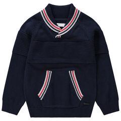 Pull en tricot avec col châle et poche kangourou