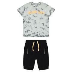 Ensemble avec tee-shirt effet shibori et bermuda