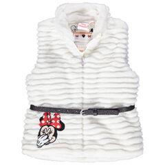 Vest zonder mouwen met namaakbont, borduurwerk van Minnie en riem met pailletjes