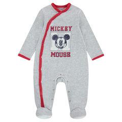 Pyjama van grijs gemeleerd fluweel met Mickey-print