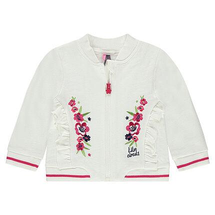 Vest van molton met geborduurde bloemen en volants