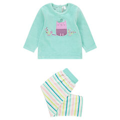 Pyjama en velours 2 pièces avec hibou brodé et pantalon rayé