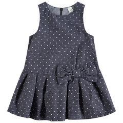Mouwloze jurk met allover stippen en voering met vickyruitjes