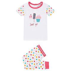 Pyjama uit jerseystof met print met zoetigheden en kleurrijke stippen