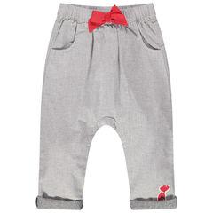 Pantalon chiné à taille élastiquée avec noeud