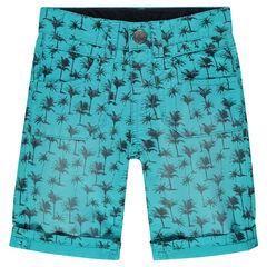 Bermuda en twill imprimé palmiers all-over
