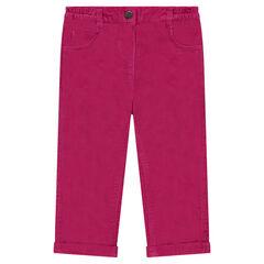 Pantalon coupe droite en velours avec poches brodées