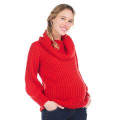Zwangerschapstrui met rolkraag van dikke tricot en gebreide stof