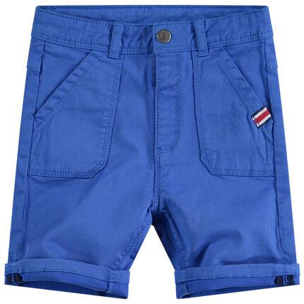 Bermuda van blauwe twill met zakken