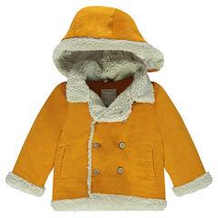 Veste en velours à capuche amovible et finitions fausse fourrure