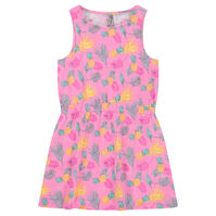 Robe sans manches en coton slub avec ananas all-over