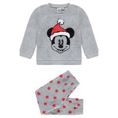 Disney pyjama van sherpastof met geborduurde Mickey