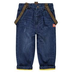 Jeans effet used et crinkle doublé jersey avec bretelles amovibles