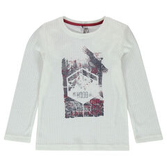 T-shirt met lange mouwen van ribstof en fantasieprint vooraan