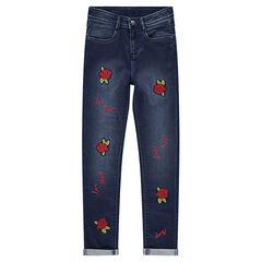 Junior - Slim-fit jeans met opgestikte rozen
