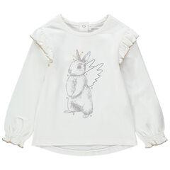 T-shirt manches longues volanté à lapin ailé printé
