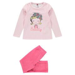 Pyjama long en velours avec print fillette fantaisie