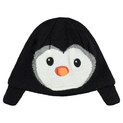 Tricotmuts met pinguïnmotief van velours en voering van velours