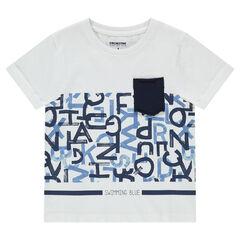 T-shirt met korte mouwen met letterprint en zakje