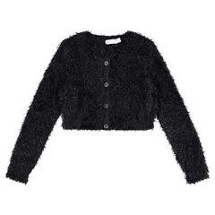 Junior - Gilet court en tricot poil brillant