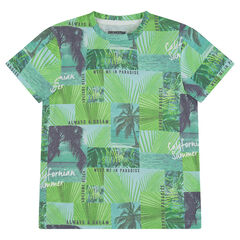 """Junior - T-shirt met korte mouwen uit jerseystof met palmbomen """"all-over"""""""