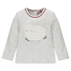 Tee-shirt manches longues en coton chiné avec patch mouton