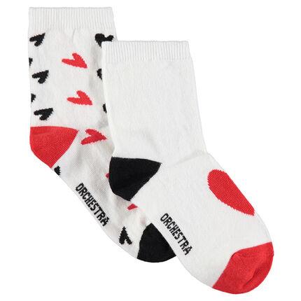 Set met 2 paar matching sokken met hartjes van jacquard