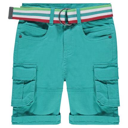 Cargobermuda met zakken en gestreepte, afneembare riem