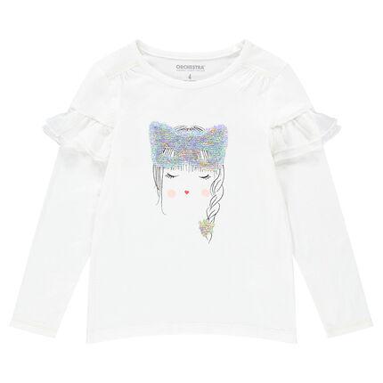T-shirt met lange mouwen van jerseystof met gezicht en masker van magische lovertjes