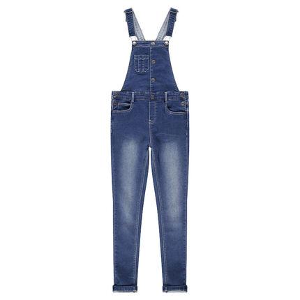 Junior - Tuinbroek van jeans met used effect en voering van jerseystof