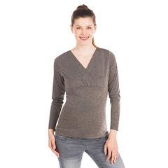 T-shirt lange mouwen voor tijdens de zwangerschap met strepenmotief lurex