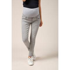 Lichtgrijze jeans met band van grijs gemêleerde jerseystof