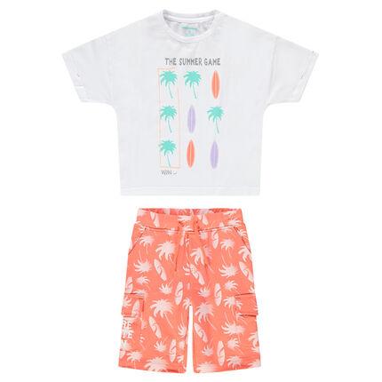 Ensemble avec tee-shirt et bermuda print palmiers et surfs
