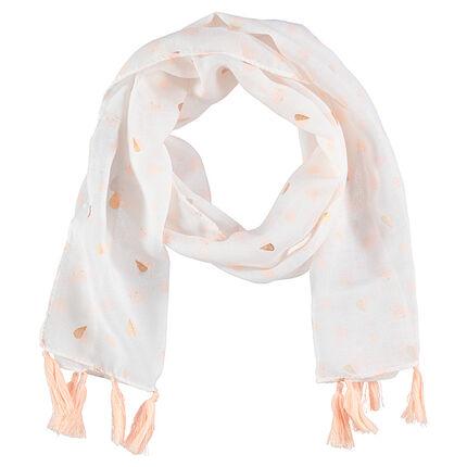 Sjaal van voile in bedrukt polyester met pompons