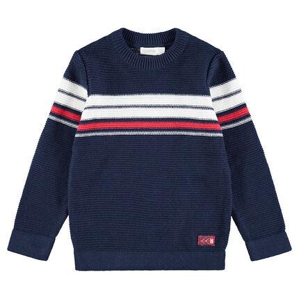 Pull en tricot avec bandes contrastées en jacquard