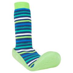 Chaussons chaussettes rayés vert/bleu