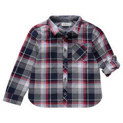 Chemise manches longues à carreaux avec poche plaquée