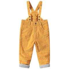 Pantalon jaune en velours à bretelles ajustables