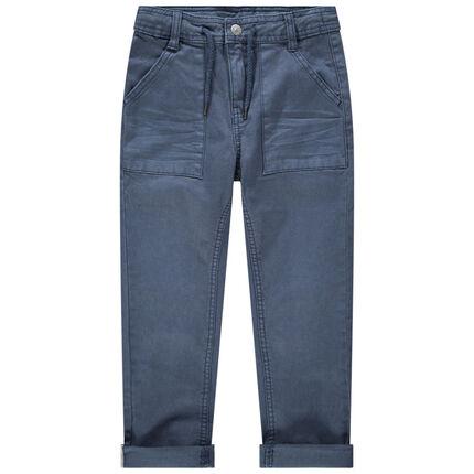 Pantalon bleu surteint à poches et cordons de serrage