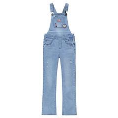 Junior - Tuinbroek van jeans met used effect en ©Smiley-badges