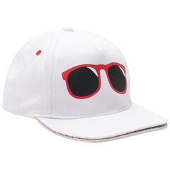 Casquette rayée en twill avec lunettes printées et double visière