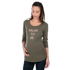 Zwangerschaps-T-shirt met lange mouwen van jerseystof met print met boodschap