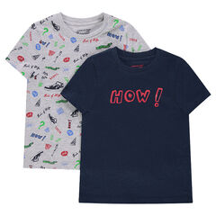 Set met 2 T-shirts met korte mouwen en fantasieprint