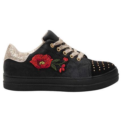 Lage sneakers ledereffect met geborduurde bloem en pailletten