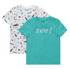 "Set met 2 T-shirts met korte mouwen met print ""all-over""/ effen"